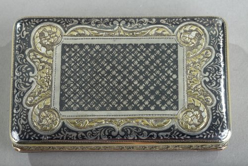 19th century - Silver Box with Niello, Gold, and Turquoise  In the Taste of J.C Kirstein.