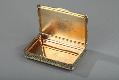 Silver Box with Niello, Gold, and Turquoise  In the Taste of J.C Kirstein. - Restauration - Charles X