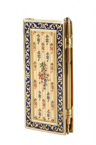 Dance card in gold and enamel Restauration period