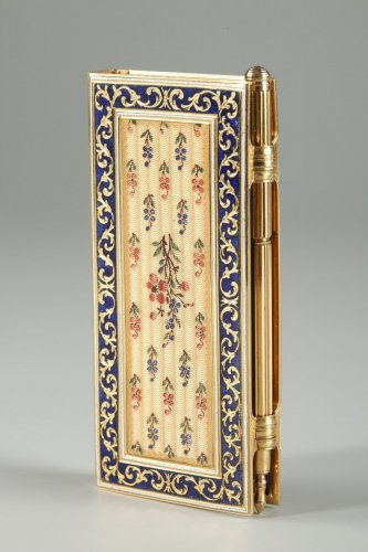 19th century - Dance card in gold and enamel Restauration period