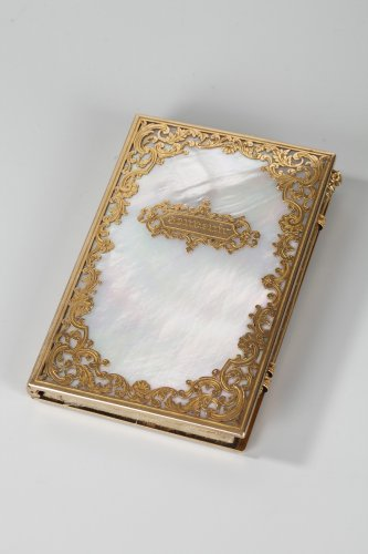Charles X dance card in mother-of-pearl and gold, Restauration period - Objects of Vertu Style Restauration - Charles X