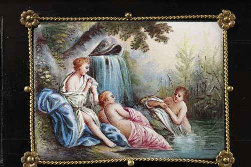 19th century - Enamel of Vienna coffer signed Klein. 19th century.