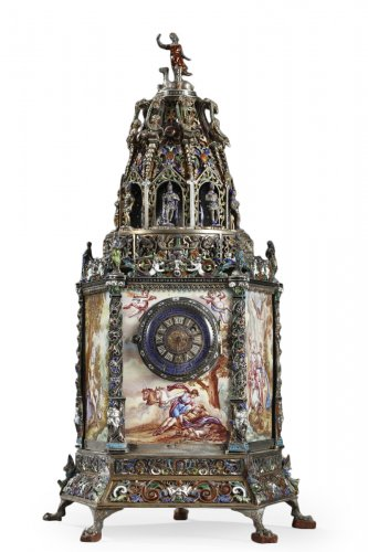 Silver and enamel Clock. Hermann Böhm. Austrian work. 1860-1870.