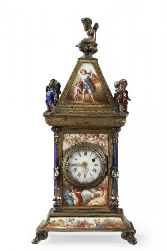 Austrian and enamel silver clock