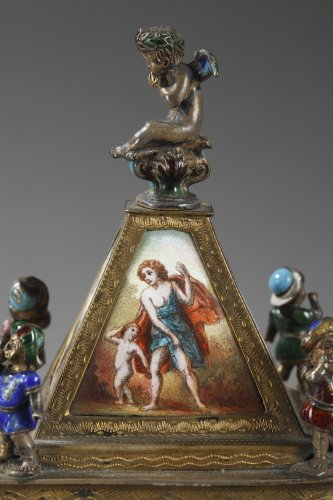 Austrian and enamel silver clock - Clocks Style Napoléon III