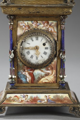 Clocks  - Austrian and enamel silver clock