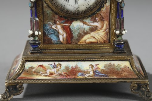 Austrian and enamel silver clock -