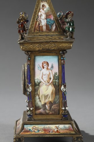 19th century - Austrian and enamel silver clock