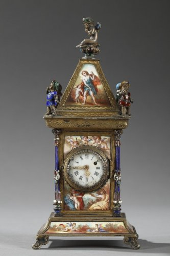 Antiquités - Austrian and enamel silver clock
