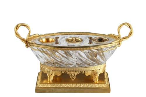 Charles X Cut crystal gilded bronze inkwell circa 1815-1820