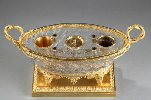 Charles X Cut crystal gilded bronze inkwell circa 1815-1820 -