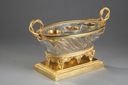 Charles X Cut crystal gilded bronze inkwell circa 1815-1820 - Restauration - Charles X