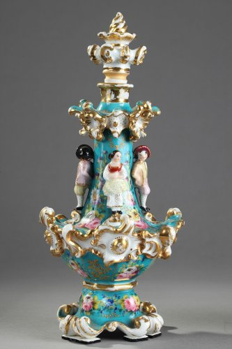 Porcelain & Faience  - Pair of Jacob Petit porcelain flask Circa 1830-1840