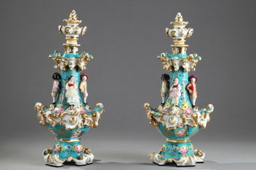 Antiquités - Pair of Jacob Petit porcelain flask Circa 1830-1840