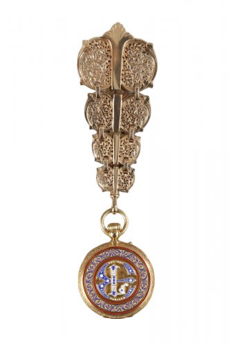 Chatelaine in gold and enamel signed Modeste Anquetin