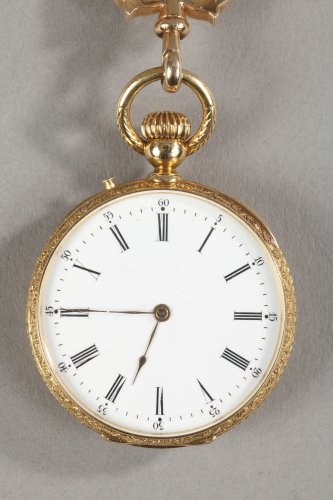 19th century - Chatelaine in gold and enamel signed Modeste Anquetin