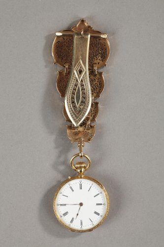 Chatelaine in gold and enamel signed Modeste Anquetin -