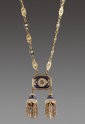 Chatelaine or necklace in gold, enamel and pearls, Late 18th century work - Antique Jewellery Style Louis XVI