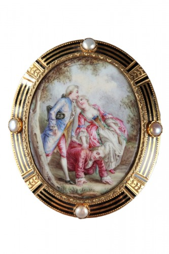 A Mid-19th century Gold-Enamelled Brooch with pearls.