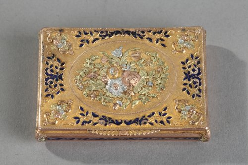 Early 19th gold and enamel box. Swiss work - Objects of Vertu Style Restauration - Charles X