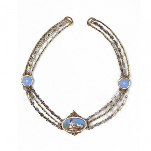 Chain Link Necklace with Gold and Enamel Plates