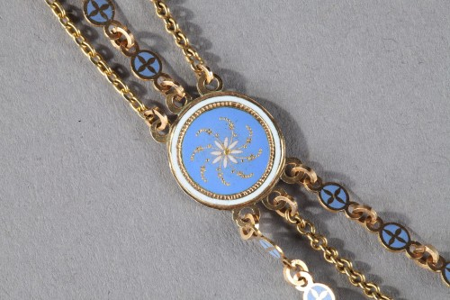 Chain Link Necklace with Gold and Enamel Plates  -