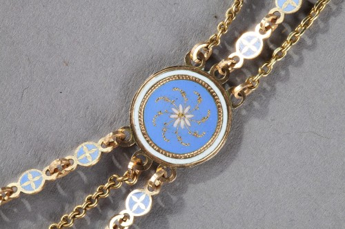 18th century - Chain Link Necklace with Gold and Enamel Plates