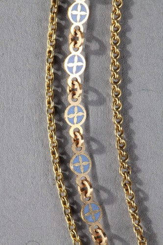 Chain Link Necklace with Gold and Enamel Plates  - Directoire
