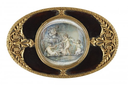 Tortoiseshell and Gold Box with Miniature on Ivory