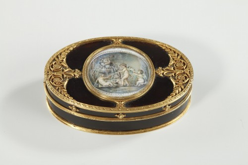 Tortoiseshell and Gold Box with Miniature on Ivory - Objects of Vertu Style Directoire