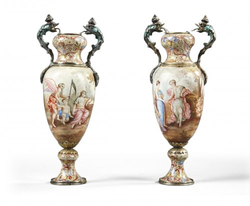 Vienna enamelled vases, Rudolf Linke. Mid-19th century