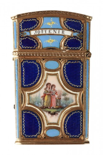 Gold, enamel and ivory tablet case. 18th century swiss craftmanship.