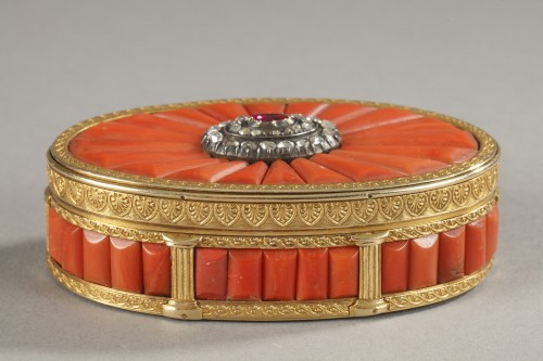 Gold Snuff Box With coral, diamonds, and precious stone -