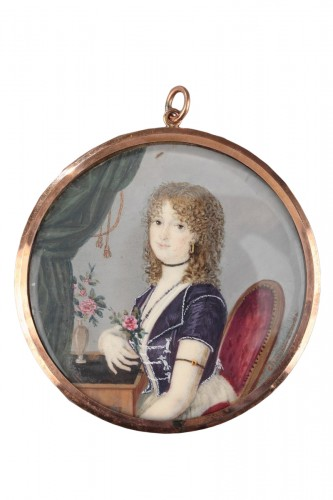 Miniature on ivory signed Charbonnières. Early 19th century.