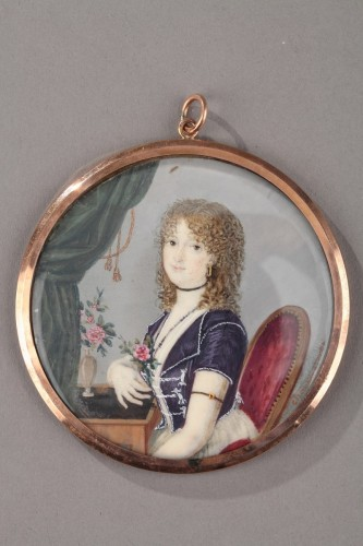 Miniature on ivory signed Charbonnières. Early 19th century.  -