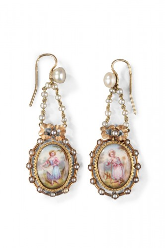 Pair of Gold, Enamel, Pearl, and Mother-of-Pearl Earrings