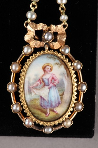 19th century - Pair of Gold, Enamel, Pearl, and Mother-of-Pearl Earrings