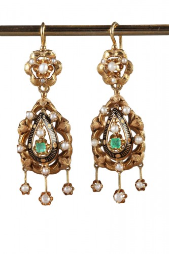 Pair of Gold, Enamel, Pearl, and Emerald Earrings