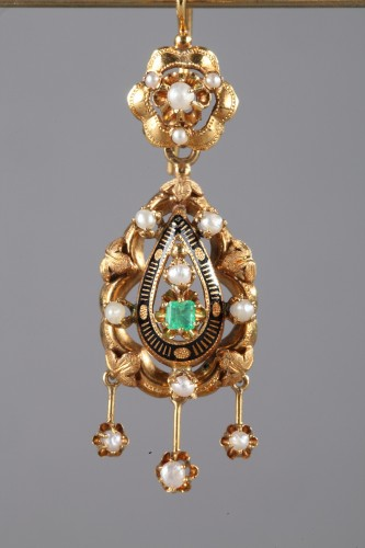 Pair of Gold, Enamel, Pearl, and Emerald Earrings - Antique Jewellery Style Napoléon III