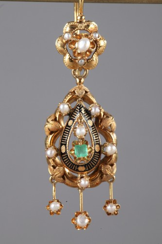 Antique Jewellery  - Pair of Gold, Enamel, Pearl, and Emerald Earrings