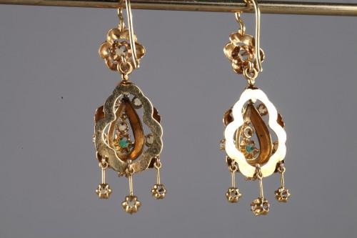 Pair of Gold, Enamel, Pearl, and Emerald Earrings -