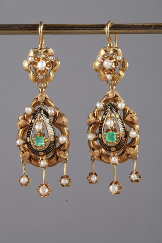19th century - Pair of Gold, Enamel, Pearl, and Emerald Earrings