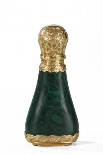 Gold mounted Malachite perfume flask Mid-19th