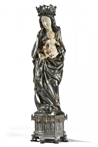 Silver and ivory Virgin Mary and Child