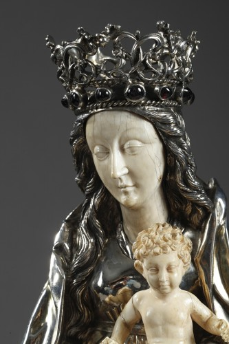 Religious Antiques  - Silver and ivory Virgin Mary and Child