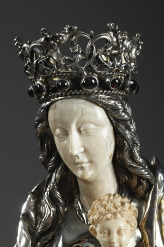 - Silver and ivory Virgin Mary and Child