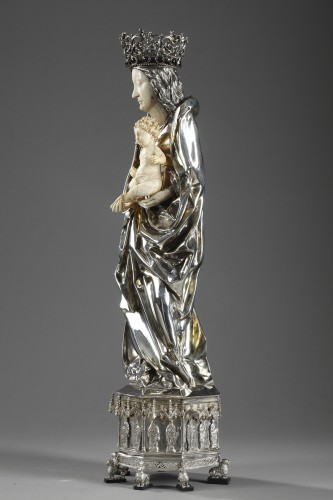 Antiquités - Silver and ivory Virgin Mary and Child