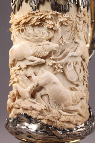 A German Silver mounted Ivory Tankard -