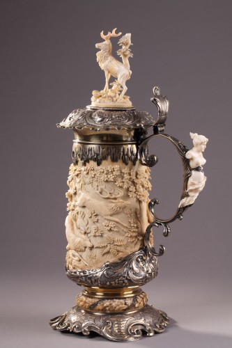 19th century - A German Silver mounted Ivory Tankard