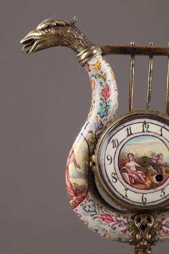 Austrian and enamel silver clock -